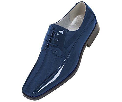 Viotti Men's Formal Oxford Dress Shoe Striped Satin and Patent Tuxedo Classic Lace Up with or Without Tip Style 179/5205 Navy ()