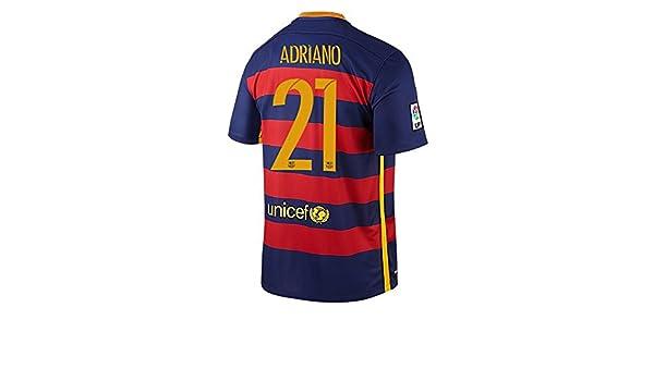 Nike Adriano  21 Barcelona Camiseta 1ra Futbol 2015 2016 (Nombre Auténtico  Y Número) - (US TAMAÑO) (S)  Amazon.es  Deportes y aire libre 2c3434fc1db