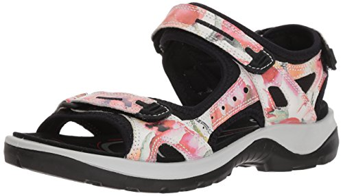- ECCO Women's Yucatan outdoor offroad hiking sandal, white/flower print, 8 M US
