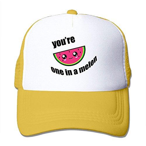 Hizhogqul You're One in A Melon Trucker Hat Unisex Adult Baseball Mesh Cap Yellow
