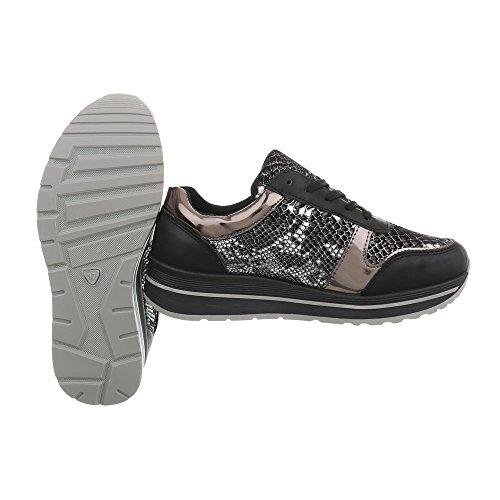 Design mujer Negro Plano Zapatillas Low 258 Ital para A Zapatillas Zapatos a6qw850x6