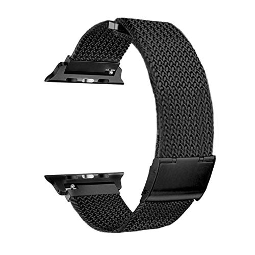 Inozama Sporty Band Compatible with Apple Watch, Milanese Loop Stainless Steel Magnetic Clasp Metal Replacement Band for iWatch Series 1 Series 2 Series 3 Series 4 (MPC Black, 38MM)