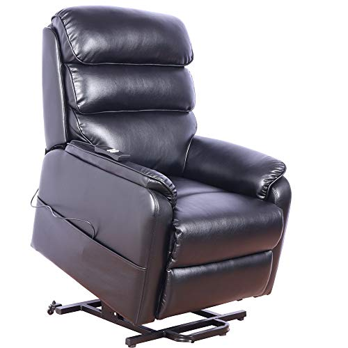 Irene House (Dual Motor) Lays Flat Electric Power Lift Recliner Chair for Elderly Comfortable (Breath Leather ),Soft and Sturdy(Black)