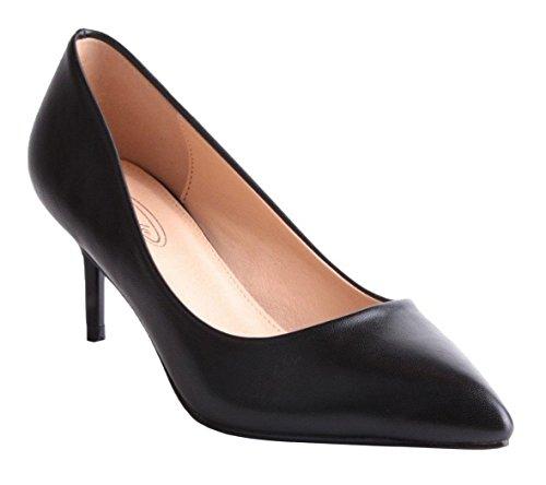 SHU CRAZY Womens Ladies Faux Leather Stiletto Heel Pointed Toe Fashion Pumps Court Shoes - K55 Black JpBdeX