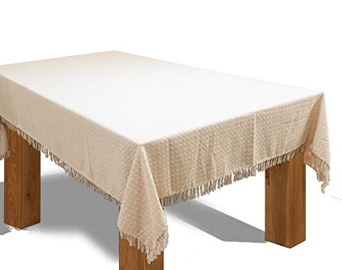 HomweLinen Rectangular Table Cloth, 100% Cotton Woven Fringed Table Cloth - 52x70 Inch, Natural/Ivory