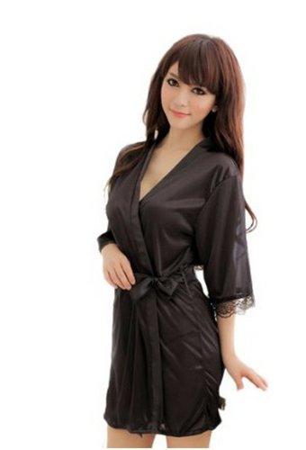 Demarkt Women's Sleepwear Robe Silk Robe Bathrobes Pajamas Lingerie (Sheer Chiffon Peignoir)