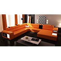 5022 Orange Top Grain Italian Leather Living Room Sectional Sofa