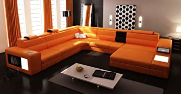 5022 Orange Top Grain Italian Leather Living Room Sectional Sofa