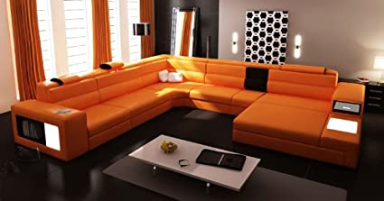 amazon com 5022 orange top grain italian leather living room