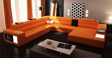 5022 Orange Top Grain Italian Leather Living Room Sectional Sofa : top sectional sofas - Sectionals, Sofas & Couches