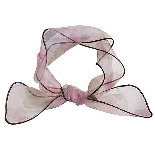 (Fashion Scarf by soAR9opeoF Women Floral Organza Skinny Scarf Sash Tie Necktie Ribbon Headdress Pink)