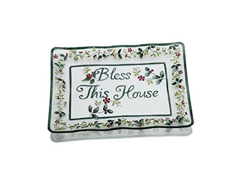 Pfaltzgraff Winterberry Rectangular Glass Bless This House Platter (Plate Appetizer Winterberry)