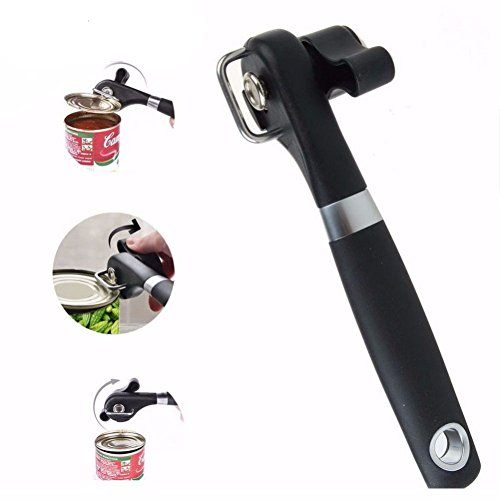 Stainless Steel Professional Manual Can Opener Side Cut Can Tool Stainless Steel Bottle Opener(black)