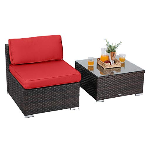 PHI VILLA 2 Piece Outdoor Sectional Sofa Wicker Patio Furniture Set with Tea Table, Red