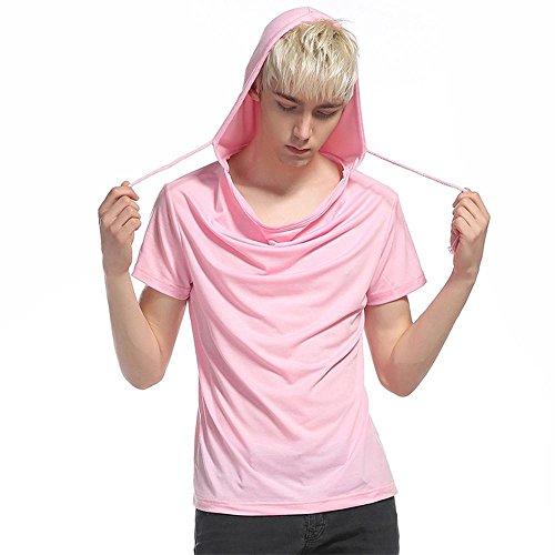Männer High Street Hip-Hop mit Kapuze Kurzarm-T-Shirt Slim-personalisierte , pink , l