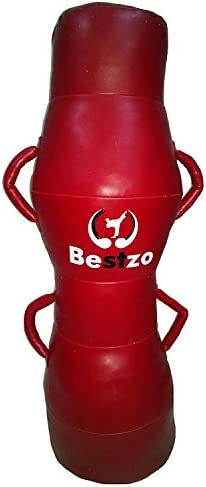 bestzo MMA Punching Bag – 円柱形状Pound /床Striking – 合成leather-赤 Synthetic Leather 赤 59 inch
