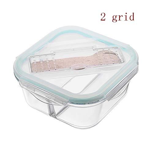 DWY-Lunch Box Fiambrera Cuadrada de Vidrio Separado, Caja de ...