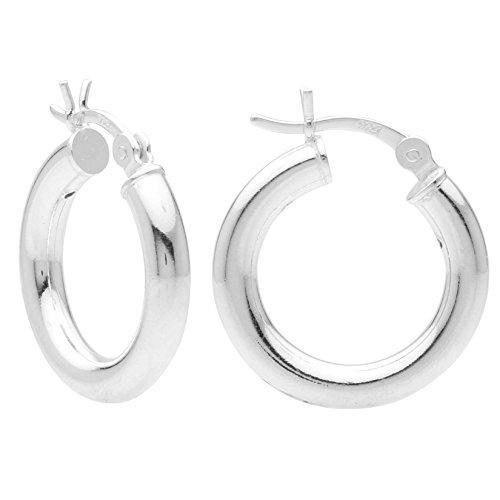 - Sterling Silver Hoop Earrings - 3mm x 18mm Click-Top Tube Hoop