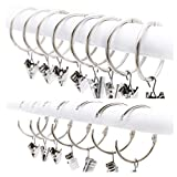 REFURBISHHOUSE 25 Pack Curtain Ring wiht Clips, Metal Decorative Drapery Window Curtain Ring Hooks with Strong Clip Rustproof, Easy Open and Close, 1.5 Inch Interior Diameter, Silver