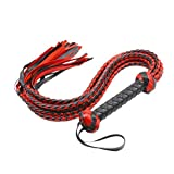 BESTOYARD Red Flirt Leather Whip Erotic Hand Flogger with 8 Shares Tassels Couples Toys