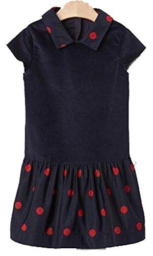 BabyGap Girls Navy Red Polka Dot Velvet Drop Waist Dress 5 Years