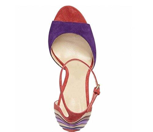 Chaussures habillées Pompe 12CM hauts Élégant Rayé fête D'orsay ultra Purple couleurs Femmes Talons Peep de de de Suède Match Toe Sangles décontractées Des cheville Chaussures Scarpin Chaussures sandales Gra 4ZAxqn4