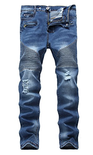 Wholesale Fashion Jeans (Men's Blue Biker Moto Skinny Ripped Destroyed Distressed Stretch Fit Denim Jeans)