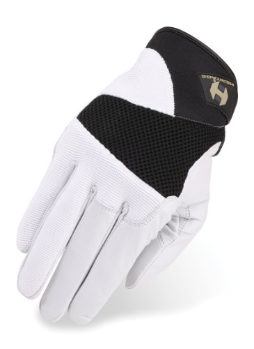 Heritage Tackified Polo Gloves, Size 6, White/Black