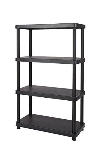 Keter 4-Shelf Heavy Duty Freestanding Shelving Unit Storage Rack, Black 4 Solid Shelves