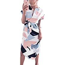 Poptem Womens Summer Casual V-Neck Geometric Pattern Belted Midi Pencil Dresses