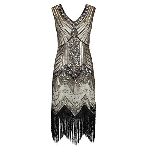 Ro Rox Great Gatsby Costume 1920/'s Cocktail Party Sequin Fringe Flapper Dress