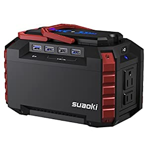 Suaoki Portable Power Station 150Wh Quiet Gas Free Camping Generator QC3.0 UPS Lithium Power Supply with Dual 110V AC Outlet, 4 DC Ports, 4 USB Ports, LED Flashlights for Camping Travel CPAP Emergency