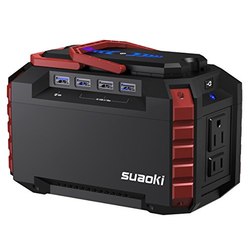 Suaoki Portable Power Station 150Wh Quiet Gas Free Camping Generator QC3.0 UPS Lithium Power Supply with Dual 110V AC Outlet, 4 DC Ports, 4 USB Ports, LED Flashlights for Camping Travel CPAP Emergency ()