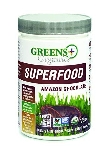 Greens+ Organic Superfood Amazon Chocolate | Essential Blend of Raw Green Foods, Superfruits and Sea Vegetables Powder | Vegan | USDA Organic | Non - GMO, Soy Dairy & Gluten-Free | Size 8.46oz ()