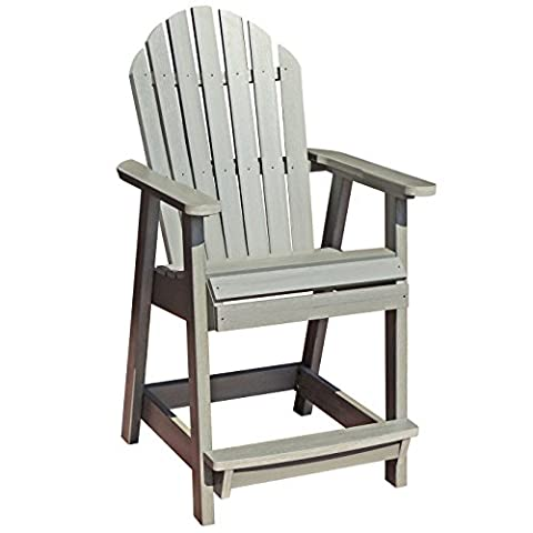 Highwood Hamilton Counter Height Deck Chair, Coastal Teak - Classic Collection Adirondack Deck Chair