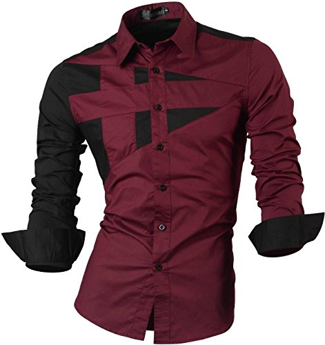 Jeansian Men's Slim Fit Long Sleeves Casual Shirts 8397 WineRed M