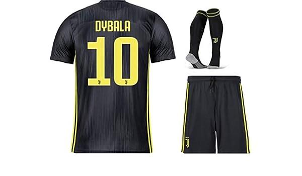 39e43f26697 Amazon.com   ZZXYSY Dybala  10 Juventus Kids Youths Away Soccer Jersey Short Socks  Colour Black   Sports   Outdoors