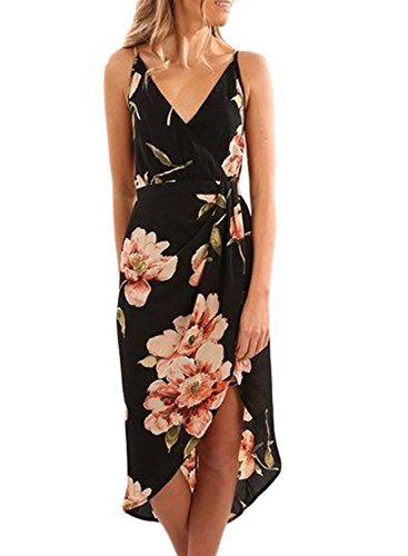 Women's Sexy Wrap Deep V Neck Backless Spaghetti Strap Sleeveless Floral Print Split Summer Beach Casual Maxi Dress Black L 12 14