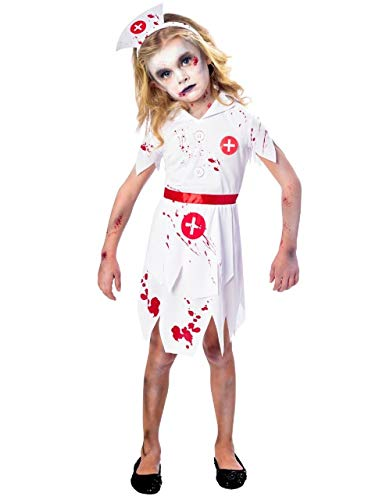 Zombie Nurse Outfit Halloween (Girls Scary Bloody Zombie Nurse Hospital Worker Occupation Uniform Halloween Fancy Dress Costume Outfit 5-12 Years (11-12)