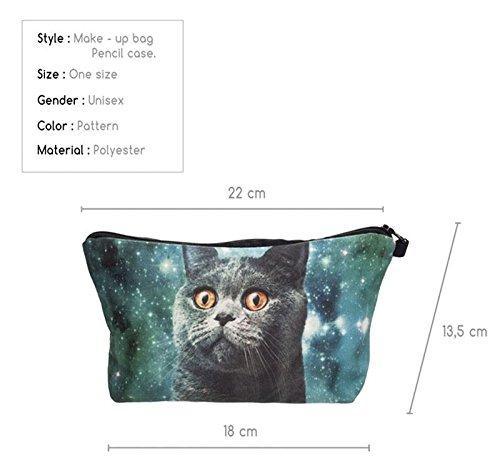 Kukubird Diversión Nueva Imagen Animal Patrón Grabado Neceser Con Bolsa De Polvo De Kukubird Blue Cat