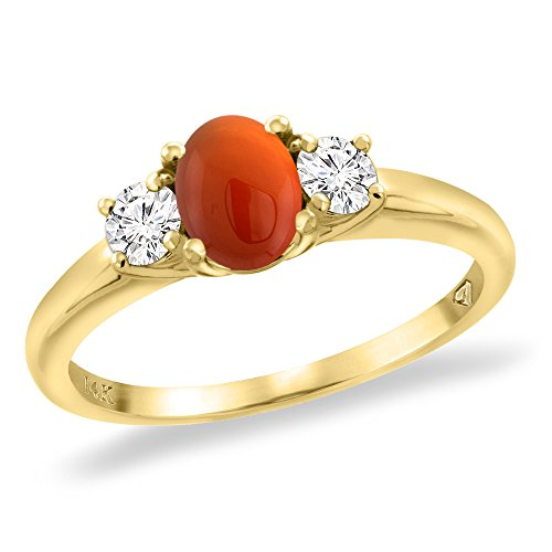 14K Yellow Gold Natural Brown Agate Engagement Ring Diamond Accents Oval 7x5 mm, size 10