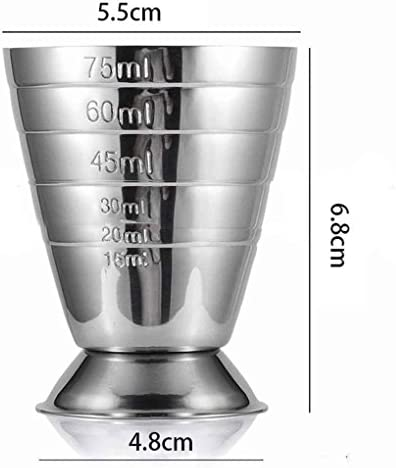 Fangfeen 75ML Edelstahl-Skala Jigger Cocktail-Wein-Getränk Shaker Pub Bar Koch Werkzeuge