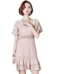 Tanming Women's V-Neck Above Knee Ruffle Hem Floral Lace Short Mini Dress
