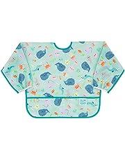 Bumkins Sleeved Bib/Baby Bib/Toddler Bib/Smock, Waterproof, Washable, Stain & Odor Resistant, 6-24 Months, Ocean Life