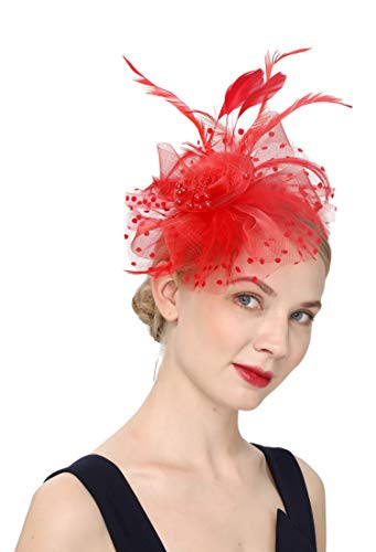 (Cizoe Flower Cocktail Tea Party Headwear Feather Fascinators Top Hat for Girls and Women(1-RED))