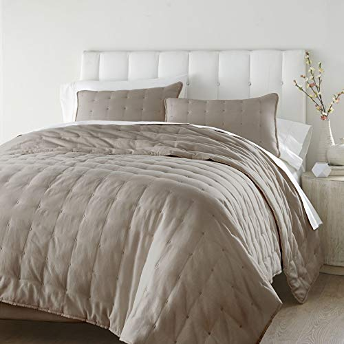 unbrand Tufted Reversible 100% Soft Cotton Quilt Set Color Sand Size Queen from unbrand