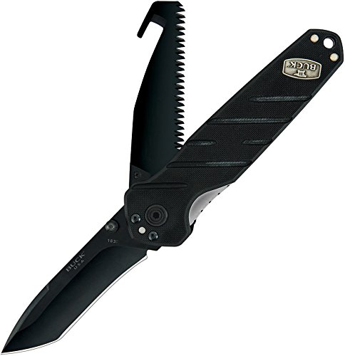 Buck Knives 183 Dual Blade Black Alpha Crosslock Folding Knife including Tanto and Saw Blade and Heavy-Duty Sheath