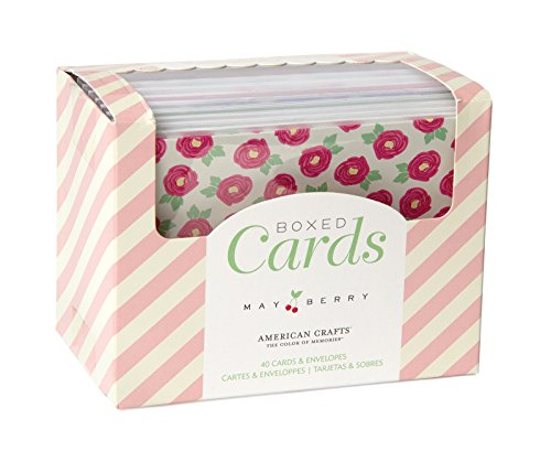 Price comparison product image American Crafts Boxed Card Sets for Scrapbooking, 40 Cards/40 White Envelopes, Mayberry