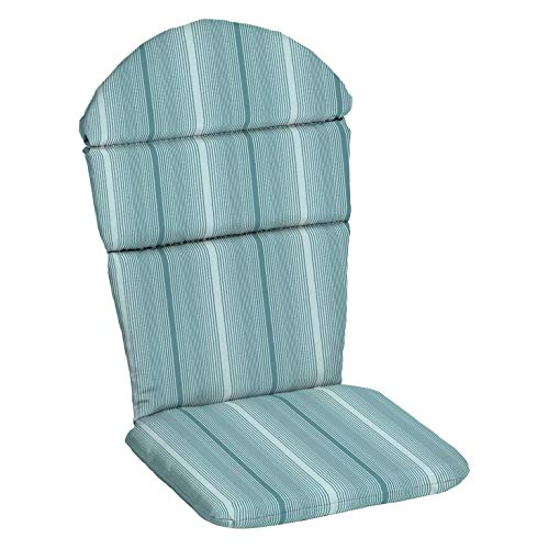 Light Teal Blue Striped Acrylic Outdoor Adirondack Cushion Patio Seasonal Replacement Pad for Adirondack Chair ()
