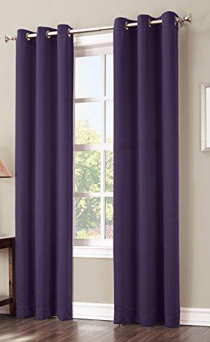 Sun Zero Easton Blackout Energy Efficient Grommet Curtain Panel, 40 x 84 Inch, Blackberry Purple